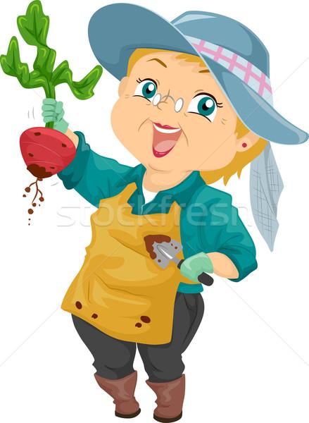Senior vrouw oogst illustratie trots Stockfoto © lenm