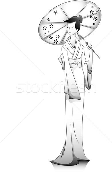 Lány kimonó illusztráció japán tart esernyő Stock fotó © lenm