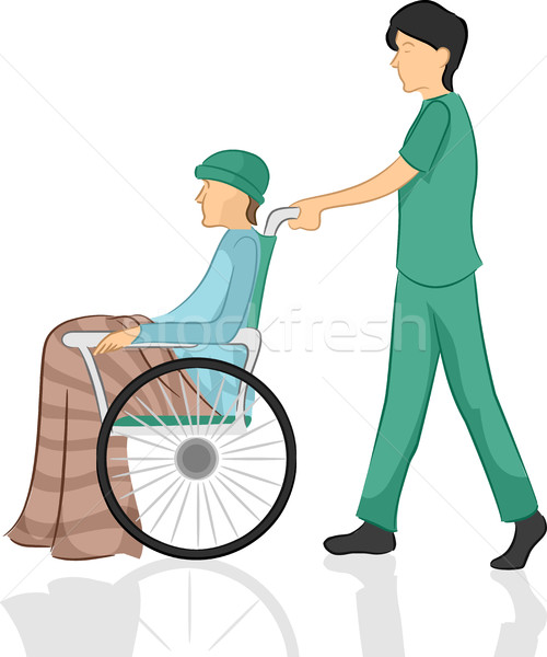 Stock photo: Man Nurse Pushing Patient Wheelchair