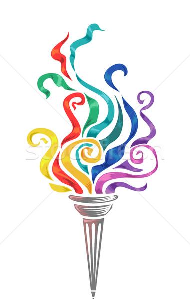 Toorts kleurrijk illustratie top licht Stockfoto © lenm