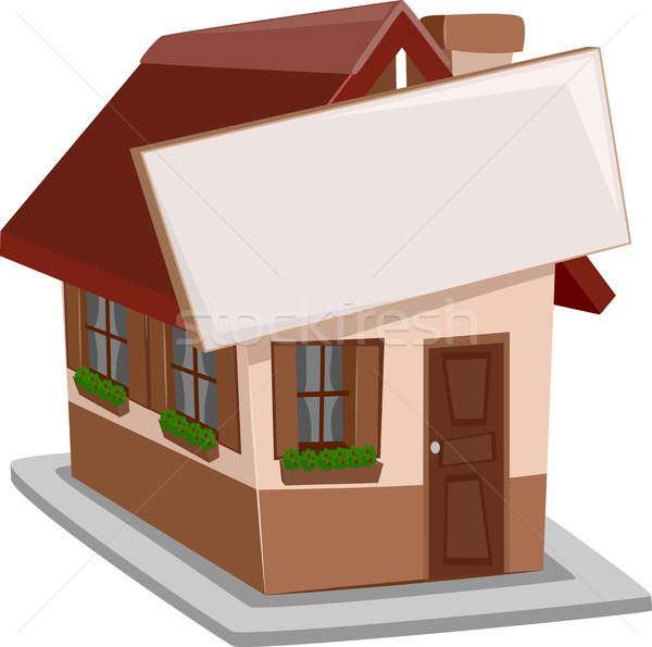 Maison individuelle signe illustration attaché maison immobilier Photo stock © lenm