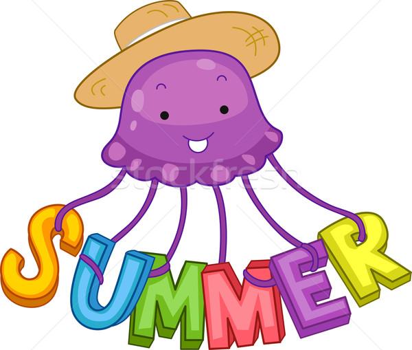Nyár meduza illusztráció helyesírás ki szó Stock fotó © lenm