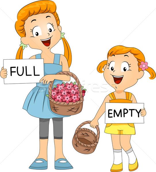 Kosár összehasonlítás illusztráció gyerekek gyermek diák Stock fotó © lenm