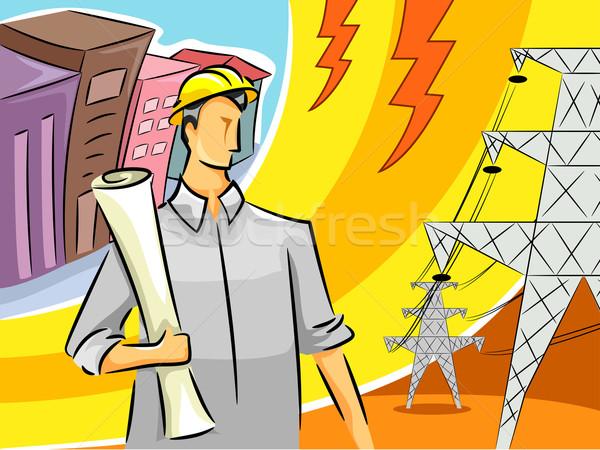 Elektomos mérnök fickó illusztráció áll fiú Stock fotó © lenm