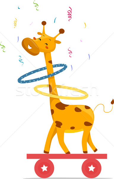 Circus Giraffe playing Hula Hoops Stock photo © lenm