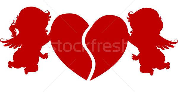 Silhouet hart jongen meisje liefde Stockfoto © lenm