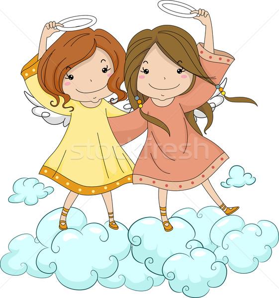 Angelo sorelle halo illustrazione bambino Foto d'archivio © lenm