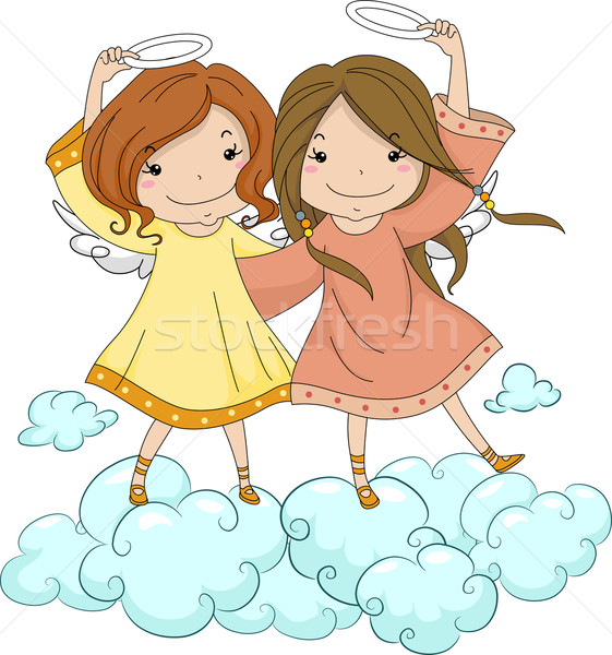 Engel zusters halo illustratie kind Stockfoto © lenm