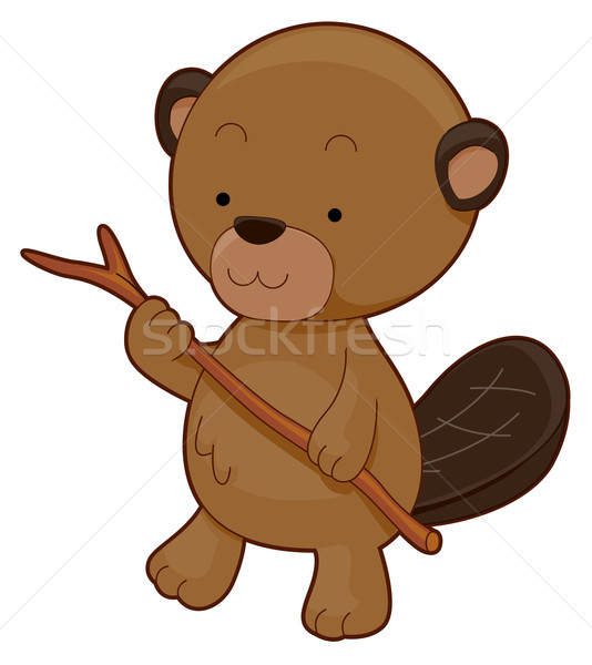 Cute bever dier cartoon stick Stockfoto © lenm