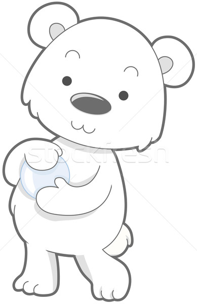 Cute oso polar tener Cartoon clip art Foto stock © lenm