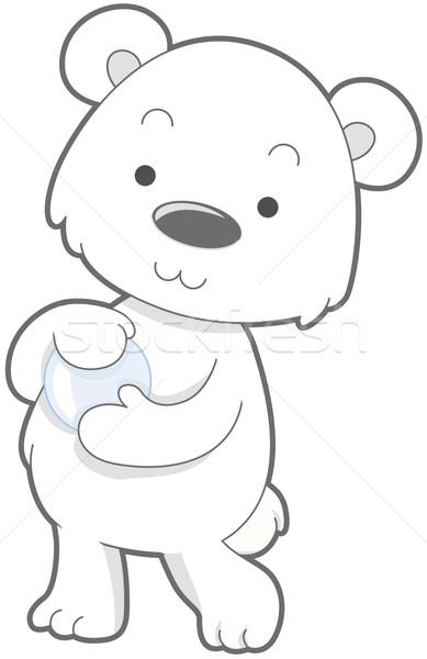Aranyos jegesmedve vágási körvonal medve rajz clip art Stock fotó © lenm