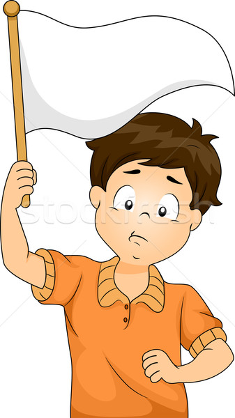 Kid Boy Waving a Blank White Flag Stock photo © lenm