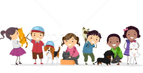 Stock foto: Haustier · Kinder · Illustration · Gruppe · stehen · neben