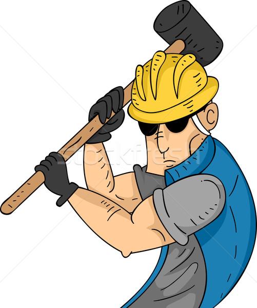 Homem ilustração muscular trabalhador gráfico Foto stock © lenm