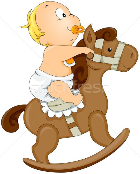 Bébé cheval à bascule enfant garçon cute Photo stock © lenm