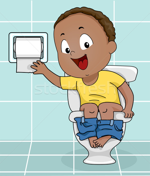 Fiú vécépapír illusztráció kicsi papír baba Stock fotó © lenm