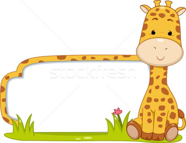 Szafari címke zsiráf illusztráció kész nyomtatott Stock fotó © lenm