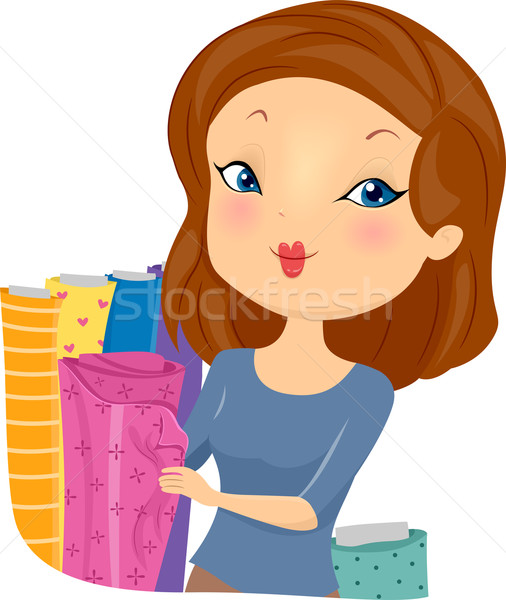 Rosa tecido ilustração bela mulher rolar Foto stock © lenm
