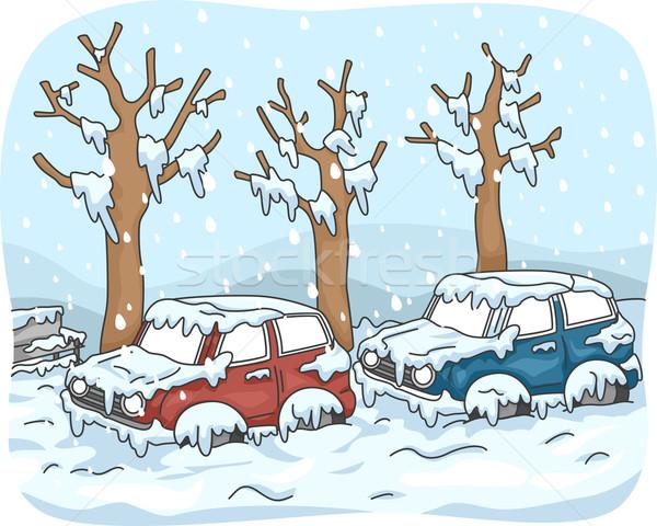 Hóvihar illusztráció autók leragasztott utca tél Stock fotó © lenm