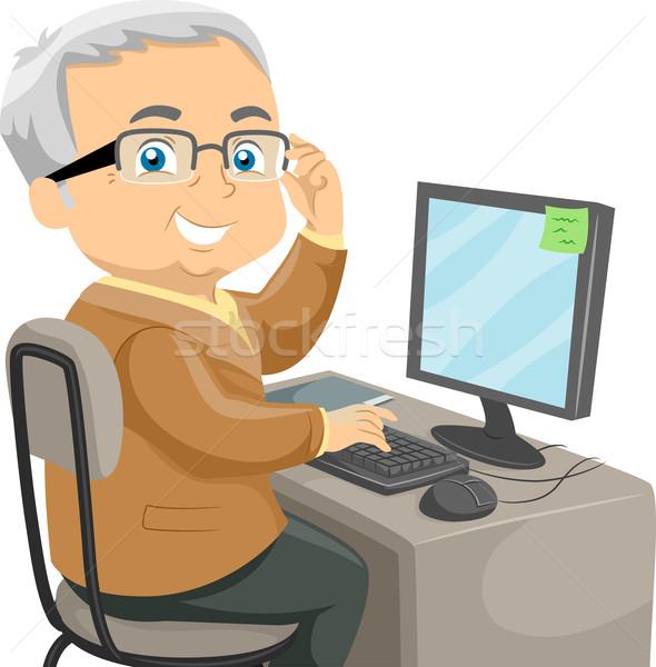 Altos ordenador ilustración ancianos masculina Foto stock © lenm