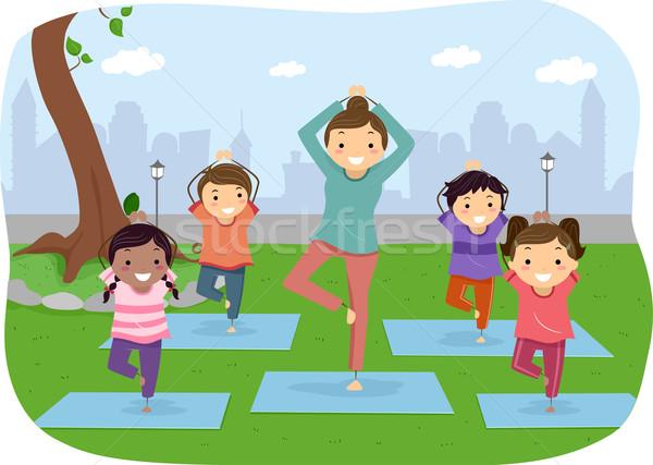 Stickman Kids Outdoor Yoga Stock photo © lenm