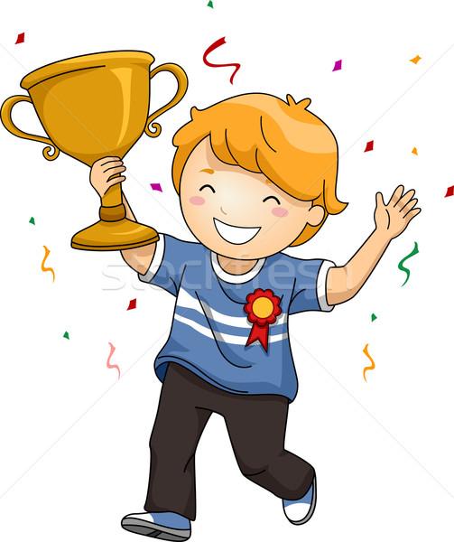 Kid jongen kampioen trofee illustratie vieren Stockfoto © lenm