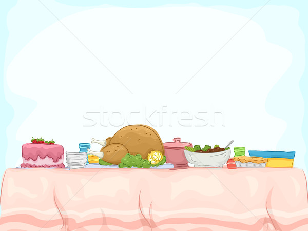 Lakoma illusztráció asztal saláta pite ebéd Stock fotó © lenm