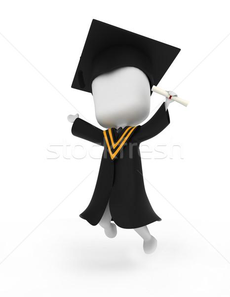 Mezun atlama mutlulukla 3d illustration atlamak mezuniyet Stok fotoğraf © lenm