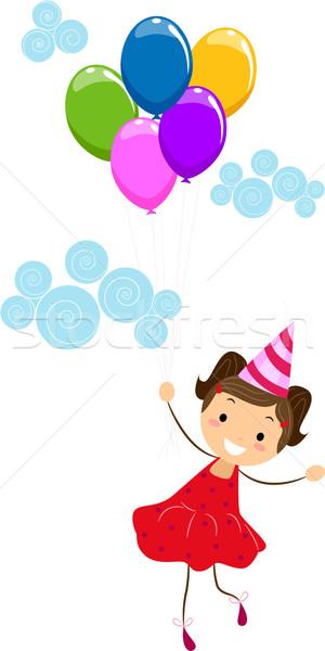 Lány tart léggömbök illusztráció boldog születésnap Stock fotó © lenm