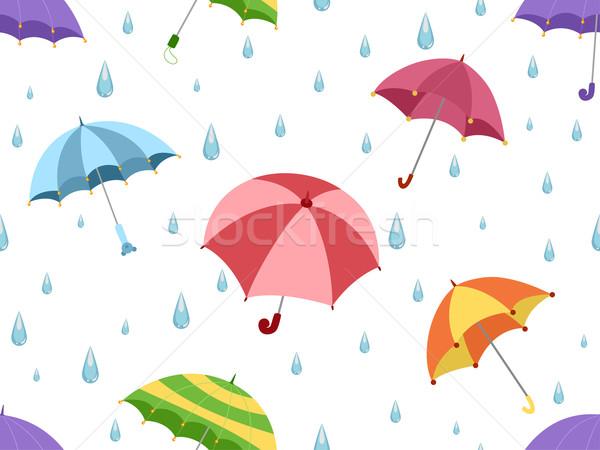 Stock fotó: Esernyők · illusztráció · terv · háttér · eső · vektor