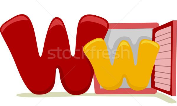 W harfi örnek eğitim mektup öğrenme karikatür Stok fotoğraf © lenm