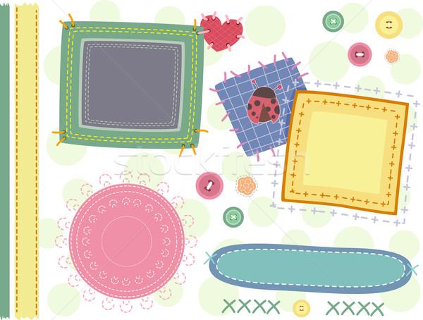 Grens steken illustratie ontwerp naaien website Stockfoto © lenm