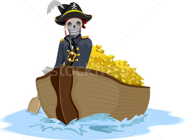 Pirate Transporting Gold Stock photo © lenm