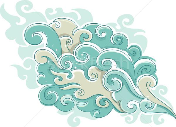 Nuvem fumar ilustração estrelas abstrato Foto stock © lenm