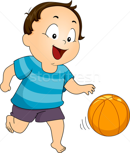 Stockfoto: Basketbal · jongen · illustratie · spelen · bal