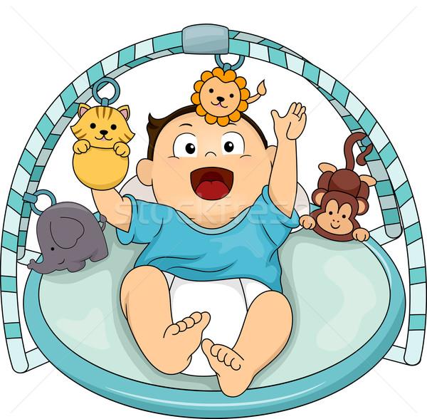 Musical tornaterem baba illusztráció boldog fiú Stock fotó © lenm