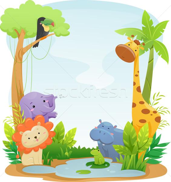 Szafari állatok háttér illusztráció aranyos terv dzsungel Stock fotó © lenm