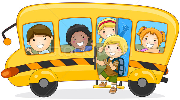 Iskolások iskola vágási körvonal gyerekek diákok csoport Stock fotó © lenm