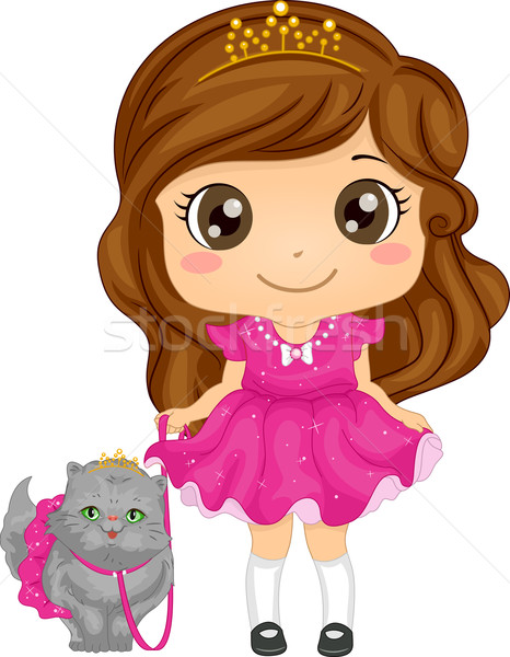 Perzische kat meisje illustratie cute prinses Stockfoto © lenm