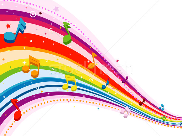Rainbow Notes On Light Background Stock