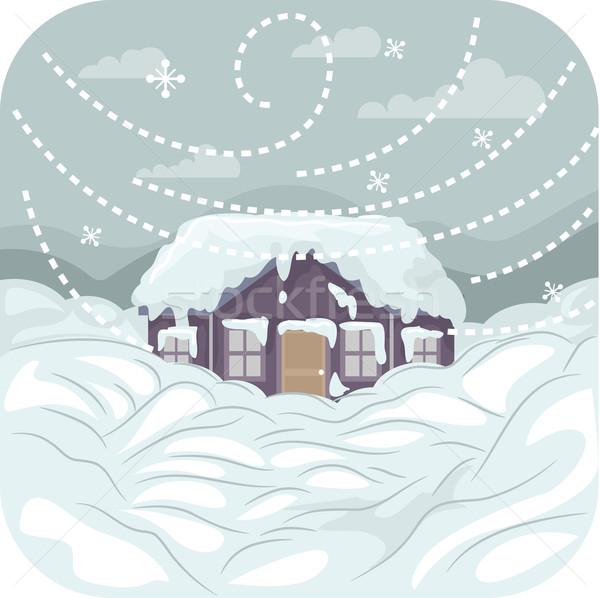 Hóvihar illusztráció erős hó tél vihar Stock fotó © lenm