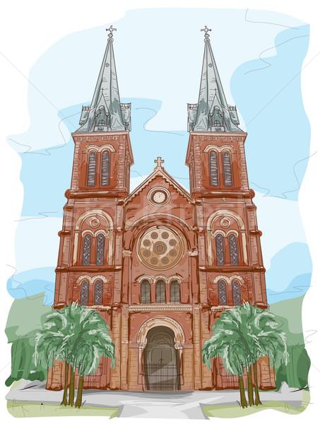 Catedral de Notre Dame esboço Vietnã igreja religião cultura Foto stock © lenm