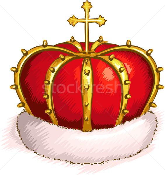 Masculino coroa ilustração dourado atravessar topo Foto stock © lenm