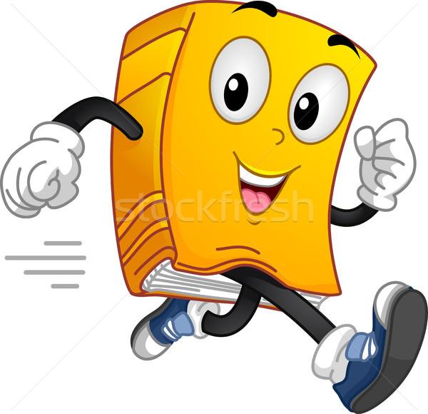 Book Mascot Running Stock photo © lenm