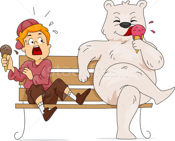 Urso polar sorvete ilustração alimentação criança masculino Foto stock © lenm