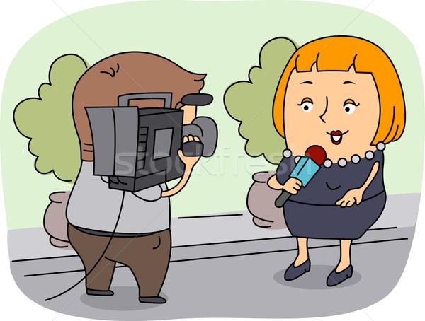 репортер иллюстрация работу человека Новости женщины Сток-фото © lenm
