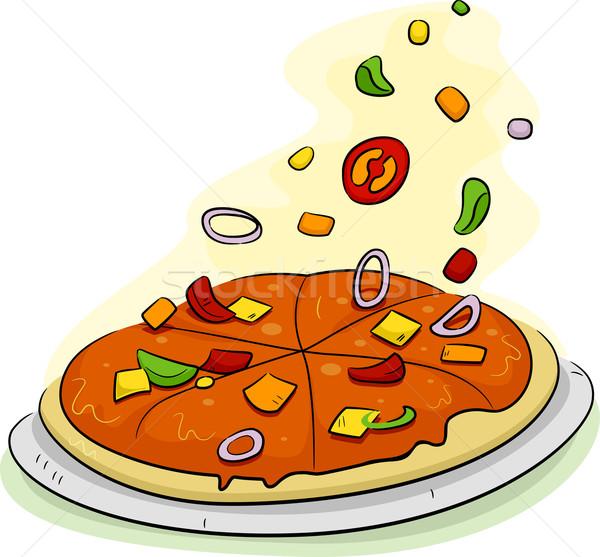 Pizza illustration cartoon mode de vie régime alimentaire vecteur Photo stock © lenm