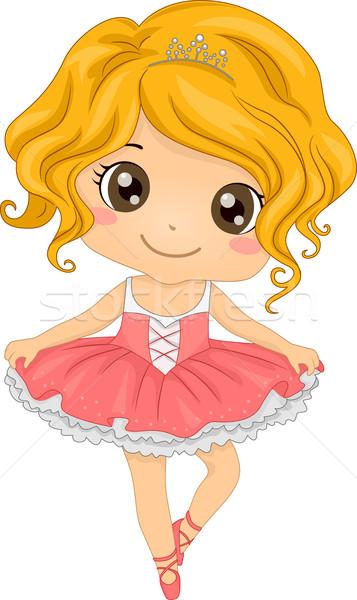 Ballerina illusztráció kicsi gyerek női grafikus Stock fotó © lenm