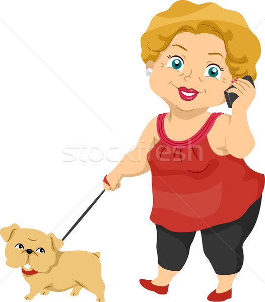 Senior Taking Her Dog for a Walk Stock photo © lenm