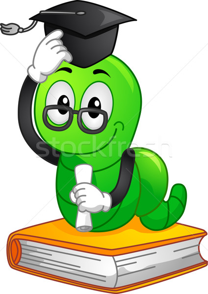 Bookworm Mascot Graduate Vector Illustration C Lenm 2211189